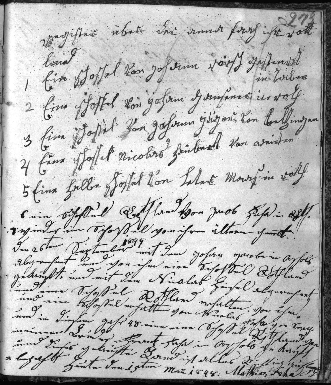 Deutsche Schrift, Quelle: Schuldenregister der Anna Faha 1835-1860, Seite 273