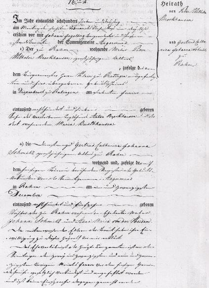 Beispieltext Heiratsurkunde von 1833 Seite 1 von 2