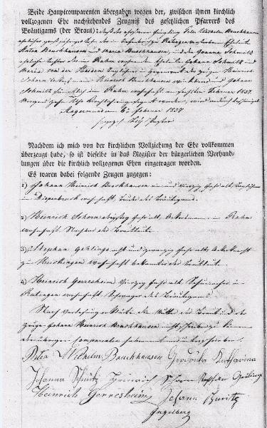 Beispieltext Heiratsurkunde von 1833 Seite 2 von 2