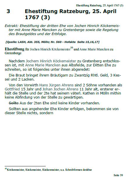 Hofakte Gretenberge Beispiel einer Transkription, Seite 39
