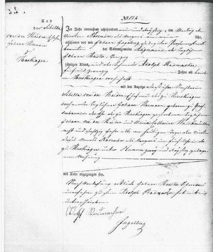 zu transkribierenden Sterbeurkunde / Todesurkunde von 1839
