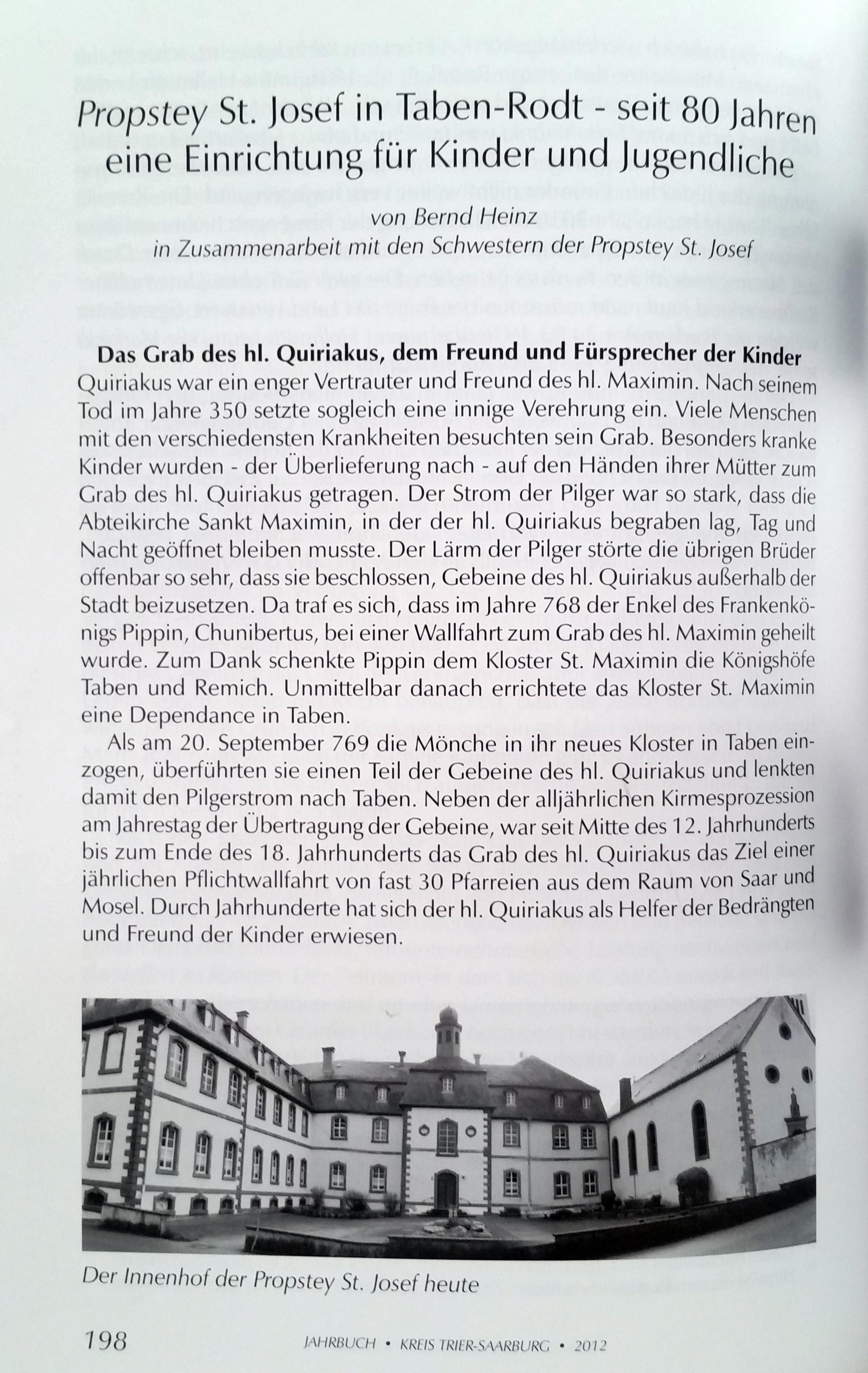 Jahrbuch 2012 Beitrag: Propstey St. Josef in Taben-Rodt