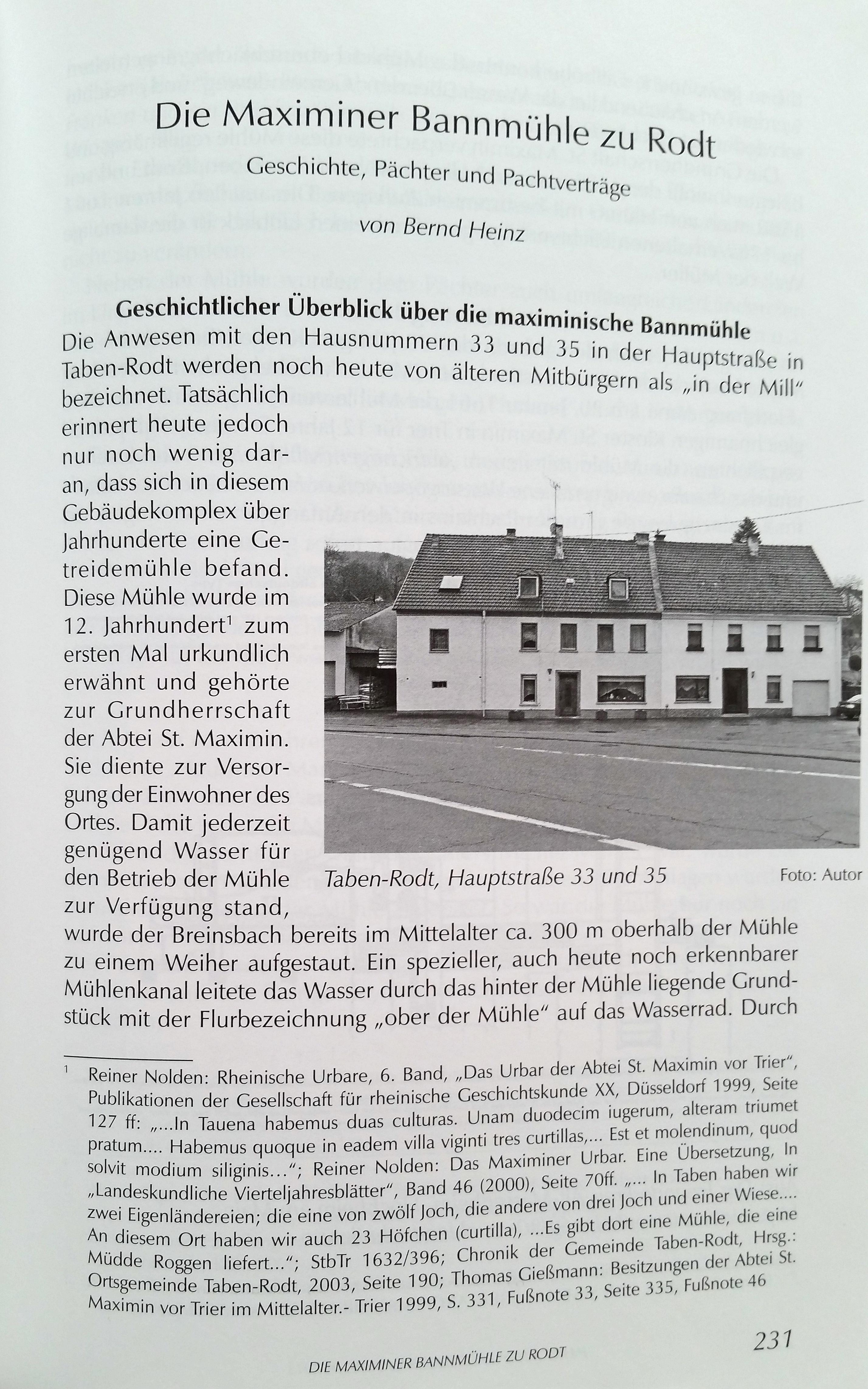 Jahrbuch 2013 Beitrag: Die Maximiner Bannmühle zu Rodt (Taben-Rodt)
