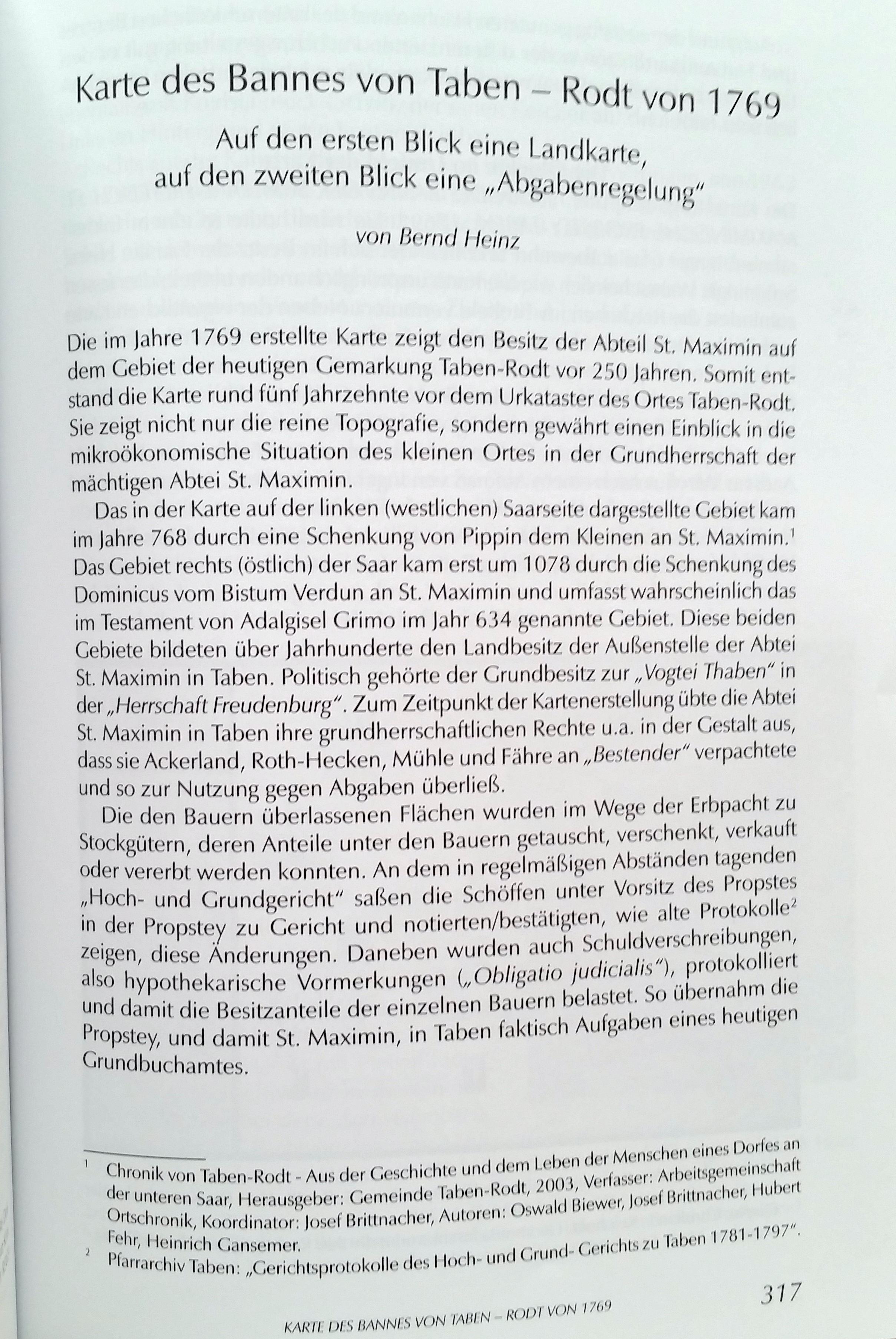 Jahrbuch 2019 Beitrag: Karte des Bannes von Taben-Rodt von 1769